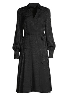 Jay Godfrey Manning Zebra-Print Puff-Sleeve Wrap Dress