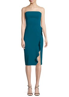 Jay Godfrey Memphis Strapless Ruffle Slit Midi Cocktail Dress