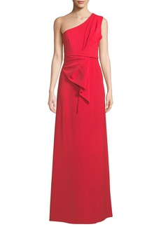 Jay Godfrey One-Shoulder Gathered Silky Crepe Gown