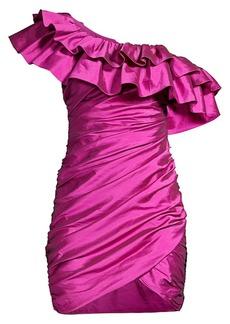 Jay Godfrey One-Shoulder Ruched Mini Dress