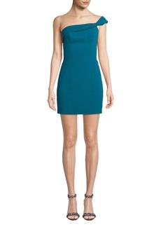 Jay Godfrey One-Shoulder Stretch Crepe Mini Dress