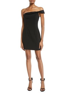 Jay Godfrey One-Shoulder Stretch Crepe Mini Dress