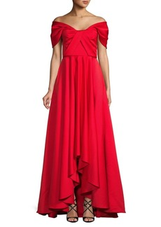 Jay Godfrey Rae Off-The-Shoulder High-Low Gown