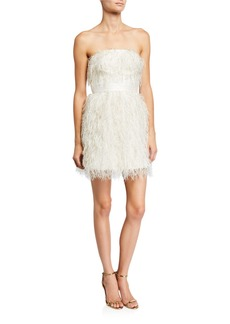 Jay Godfrey Remi Metallic Feather Bustier Mini Dress