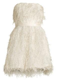 Jay Godfrey Remi Strapless Metallic Feather Mini Dress