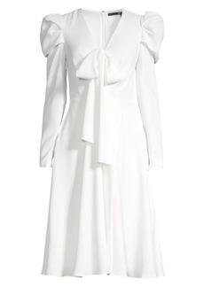 Jay Godfrey Renoir Bow-Front Puff-Shoulder Dress