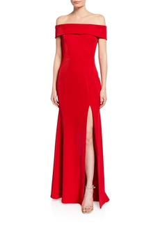 Jay Godfrey Ross Off-the-Shoulder Front-Slit Gown