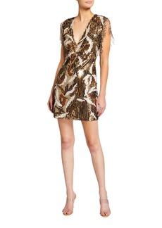 Jay Godfrey San Jose Deep V-Neck Fringe Shoulder Mini Dress