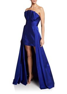 Jay Godfrey Sarai Strapless Pleated Bodice Mini Gown w/ Overskirt
