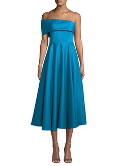 Jay Godfrey Satin One-Sleeve Midi Dress