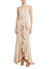 Jay Godfrey Satin Ruffle Wrap Slip Gown