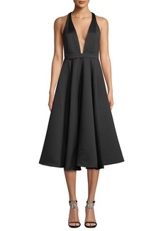 Jay Godfrey Sewelyn Plunge-Neck Fit-and-Flare Dress
