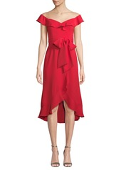 Jay Godfrey Silky Crepe Bow & Ruffle Dress