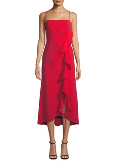 Jay Godfrey Sleeveless High-Low Ruffle Dress with Front Slit