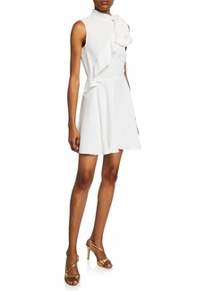 Jay Godfrey Sleeveless Mock-Neck Ruffle Bow Mini Dress