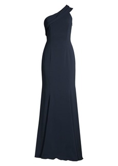 Jay Godfrey Stone Draped One-Shoulder Gown