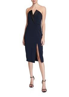 Jay Godfrey Tinsley Strapless Stretch Crepe Tux Dress with Thigh Slit