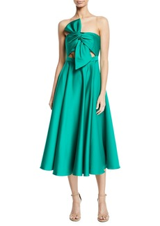 Jay Godfrey Strapless Twist-Front Satin Midi Dress