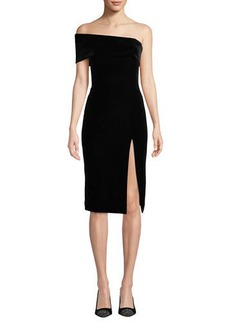 Jay Godfrey Stretch Velvet One-Sleeve Dress