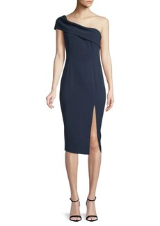 Jay Godfrey Surrey One-Shoulder Midi Sheath Dress