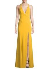 Jay Godfrey V-Neck Crepe Crisscross Gown