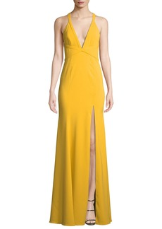 Jay Godfrey V-Neck Crepe Crisscross Gown