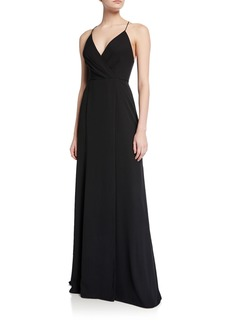 Jay Godfrey V-Neck Cross-Back Spaghetti-Strap Maxi Gown w/ Slit