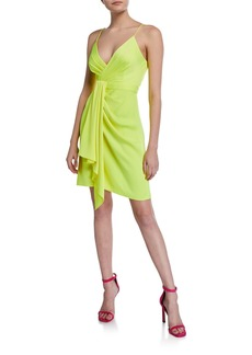 Jay Godfrey V-Neck Spaghetti-Strap Drape-Front Mini Dress
