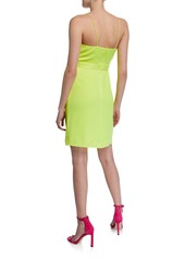 Jay Godfrey V-Neck Spaghetti-Strap Drape-Front Mini Dress