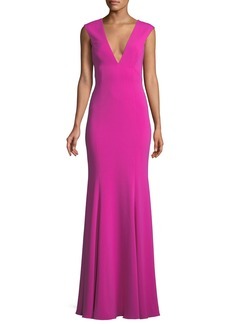Jay Godfrey Victoria Deep V-Neck Gown