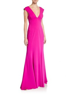 Jay Godfrey Victoria Deep V-Neck Gown