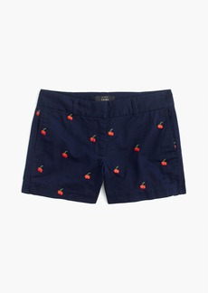 "J.Crew 4"" chino short with embroidered cherries"