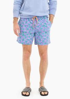 "J.Crew 6"" stretch eco swim trunk in block print"