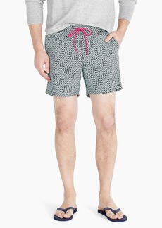 "J.Crew 6"" stretch eco swim trunk in double-diamond print"