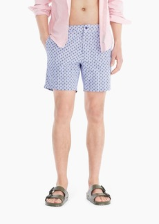 "J.Crew 7"" stretch eco pool short in checker floral print"
