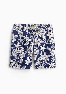 "J.Crew 9"" board short in blue and white floral"