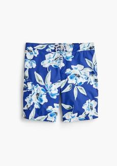 "J.Crew 9"" board short in large blue floral print"