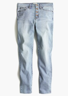 "J.Crew Tall 9"" high-rise toothpick jean in Leddy wash with button fly"
