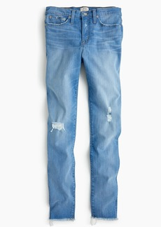"J.Crew 9"" high-rise toothpick jean in light blue with raw hems"