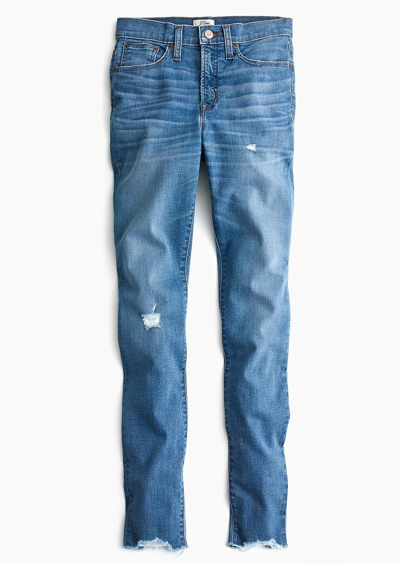 "J.Crew Petite 9"" high-rise toothpick jean with cut hem"