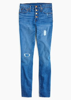"J.Crew Tall 9"" high-rise toothpick jean with button fly and cut hems"