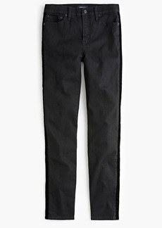 "J.Crew 9"" high-rise toothpick jean with velvet tux stripe"