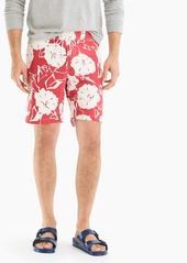 """J.Crew 9"""" stretch board short in red and white floral"""