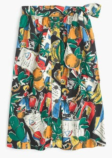 Petite A-line button-up skirt in postcard print