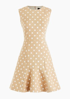 J.Crew A-line dress in polka-dot embroidered tweed with fluted hem