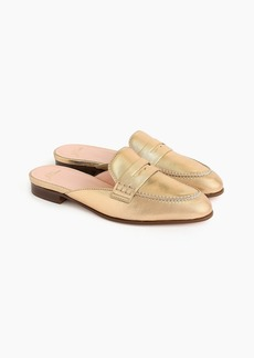 J.Crew Academy penny-loafer mules in metallic leather