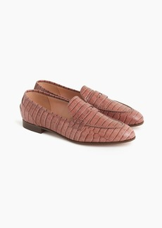 J.Crew Academy penny loafers in croc-embossed leather