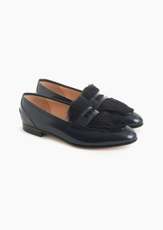 J.Crew Academy penny loafers with faux-fur trim