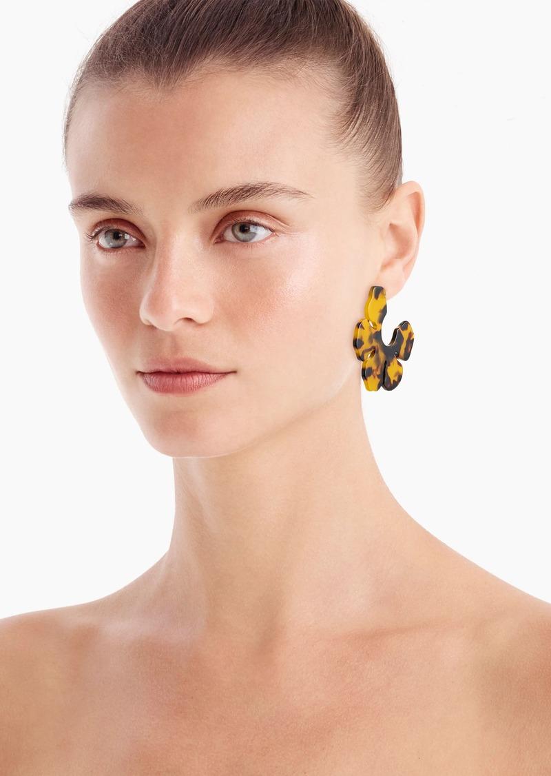 J.Crew Acetate flower open hoops earrings in tortoise