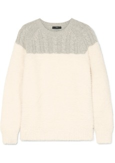 J.Crew Allen Two-tone Cable-knit Wool-blend And Brushed Knitted Sweater